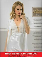 Gift Sexy Women Nightgown Sleepwear Lace White Dressing Gown UK Seller