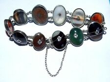 ANTIQUE SCOTTISH AGATE PANEL BRACELET. STERLING SILVER. GOOD CONDITION.