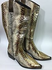 Donald J. Pliner Western Couture Metallic Python Snake Skin Country Boots Sz 8M