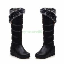 Womens Warm Thicken Fur Knee High Winter Snow Boots BUckle Wedge MId Heel Shoes