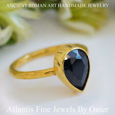 STERLING SILVER  PEAR ONYX SOLITARE STACK RING  24K GOLD PLATED HANDMADE BY OMER
