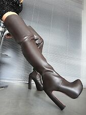MORI LUXURY OVERKNEE PLATFORM BOOTS STIEFEL STIVALE LEATHER BROWN MARRONE 40