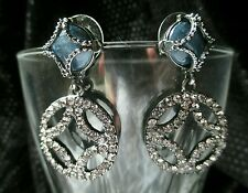 "Vintage Earrings Rhinestone blue Circle HOOP Silver tone Pierced Dangle 1½"" EUC"
