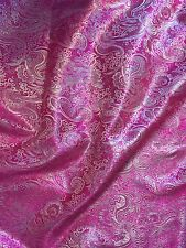 "3 MTR (NEW) PAISLEY HOT PINK METALLIC BROCADE JACQUARD FABRIC..58"" WIDE £17.99"