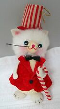 Vintage Christmas OrnamentsFelted Flocked Paper Christmas Mouse Candy Cane T2