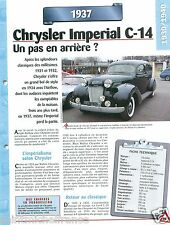 Chrysler Imperial C-14 8 Cyl. 1937 USA Car Auto Retro FICHE FRANCE