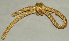 Vintage CHRISTIAN DIOR Gold-tone Rope Cord Knot Brooch Pin Mint Valentine Gift