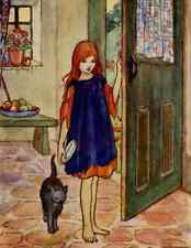 Postcard: Vintage print Repro - Red Haired, Barefoot Girl with Cat