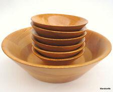 Baribocraft Salad Bowl Set 7 Serving & Small Cone Shape Staved Maple Wood c1970s