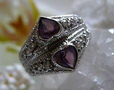 Designer Ring 925° Silber zwei Herzen Amethyst Gr. 56  im Jugendstil u 1960 R254
