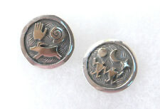 NIB Arland Ben Navajo Petroglyph Round Design 14K on Silver Post Earrings FS