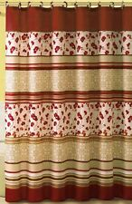 Soft Microfiber Embossed Shower Curtain:  Floral and Geometrical Design-Red