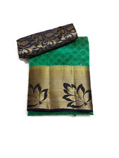 Maanvis Tussar embbosed Leaf border saree Green with Blue Border