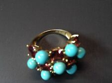 Le Vian Garnet & Turquoise Cocktail Ring Size 9  14k Yellow Gold Genuine 4.00ctw