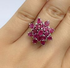 14k Solid White Gold Cluster Flower Ring Natural Ruby 3.5TCW, Sz7