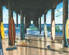 SURF BOARDS - PIER GROUP - SCOTT WESTMORELAND ART POSTER - 16x20 SURFING 0222