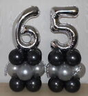 65th BIRTHDAY- AGE 65 - SILVER - PARTY - FOIL BALLOON DISPLAY -TABLE CENTREPIECE