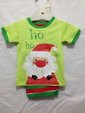 BNWT Baby Boys 000 Cute Target Lime Santa Print Christmas Summer Pyjamas Set