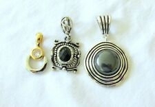 MARKED PREMIER DESIGNS THREE  PENDANTS  BLACK  & CLEAR STONES  LOT