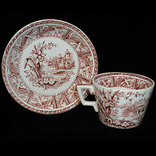Brown Aesthetic Transferware 2pc Tea Set DAFFODIL WH Grindley Staffordshire 1890