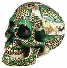 Green Celtic Lion Artistic Tattoo Skull Statue Figurine Money Bank Collectible