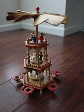 moveable Christmas Pyramid Erzgebirge German 3 Tier 6 Candle Miners Sheep burnt