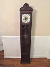 Ant Colonial Grandmother's Clock #1417 Westminster Chimes Mahogany Case Runs