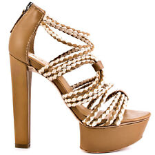NIB $285 L.A.M.B Morisa leather platform rope strappy sandals shoes tan 6,5