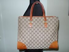 GUCCI Canvas and Cognac Leather Tote Bag ~ LOVE IT! xoxo