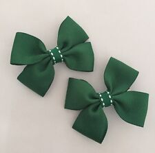 2 Packs Of Forest Green Big Bow Hair Clips/aligator Clip/schools Uniform
