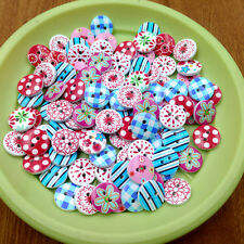 100pcs 15mm Mixed Round Flower Pattern 2 Holes Wood Buttons Sewing Scrapbooking