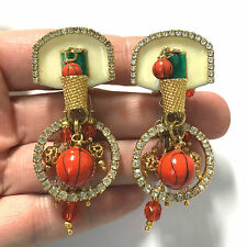 "Rare Vtg "" Lunch At The Ritz ""  Rhinestone BasketBall Wife Earrings Enamel jj50o"