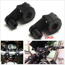 "Black Aluminum 7/8"" 22mm Motorcycle HandleBar Handle Fat Bar Mount Clamps Riser"