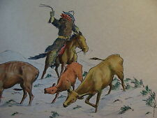 Art from 1915 the Cowboys of Cut-out Ranch by W S Phillips: winter sceen Steers
