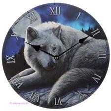 Wanduhr Bilderuhr Uhr Deko - weißer Wolf Wächter des Nordens bei Vollmond Nacht
