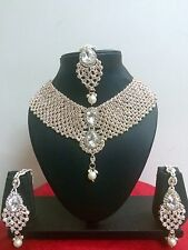 Indian Bollywood Style Rose Gold Plated Ethnic Fashion Jewelry Necklace Set