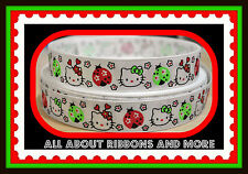 7/8 INCH HELLO KITTY LADYBUG RED & GREEN COLORS ON WHITE GROSGRAIN RIBBON-1  YD