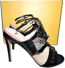 FENDI Rocker Bug Studded Leather Sandal Ankle Strap Slingback Shoes 40 Monster