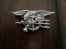 U.S  MILITARY NAVY SEALS PIN BADGE ANTIQUE SILVER IN COLOR