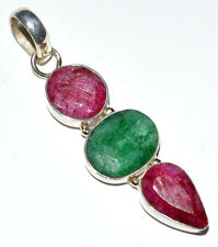 Indian Ruby & Emerald 925 Sterling Silver Pendant Jewelry JJ199