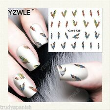 Nail Art Water Decals Transfers Stickers Mini Winter Feathers Gel Polish (8726)