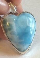 "Amazing   large  handcrafted AAA Larimar  Pendant 925 silver ""HH3"""