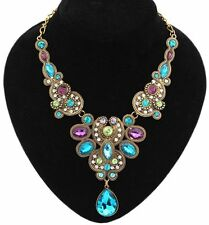 Fashion Vintage Women Crystal Choker Chain Pendant Statement Collar Bib Necklace