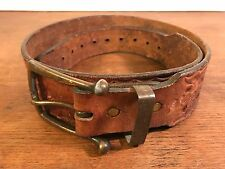 "Men's Vintage Distressed Tooled Extra Heavy Duty Leather Belt ( Length 43"") 34"