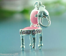10 Silver Plated Enamel Pink Clip on Chair Charm fit Link Chain Bracelet 37x9mm