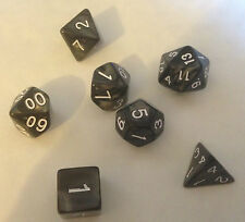 7 dice set Poly Multi sided D4 D6 D8 D10 D12 D20 Pearl Black - Warhammer D&D