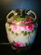 "ANTIQUE NIPPON 9"" VASE w/ Hand Painted GOLD MORIAGE & Rose Decoration, Gorgeous!"