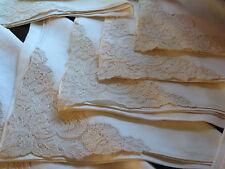 """Vtg French Alencon Lace Napkins Large Set of 10 Hemstitch Edges 21"""""""