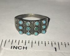Vintage Native American Sterling Silver Turquoise Petit Point 3 Row Ring