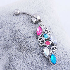 Charm Navel Dangle Belly Ring Barbell Button Bar Crystal Rhinestone Body Jewelry